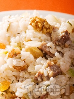 Пилешки воденички с бял ориз и орехи, стафиди и тиквено семе - снимка на рецептата